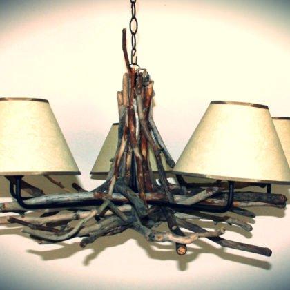 Φωτιστικό οροφής με αμπαζούρ και ξύλα θαλάσσης