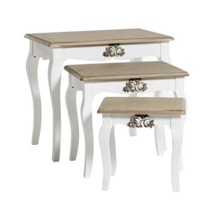 Βοηθητικά τραπέζια ξύλινα πατίνα σετ 3τεμ.