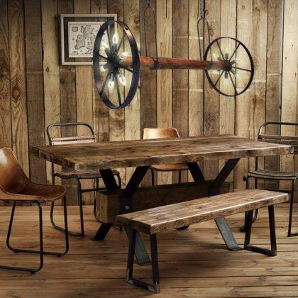 Ξύλινο vintage Φωτιστικό με αντικέ ρόδες