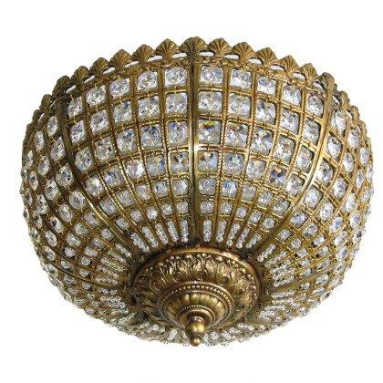 Φωτιστικό Οροφής Crown | Μπρούτζινο Χυτό Φωτιστικό με Κρύσταλλα Βοημίας
