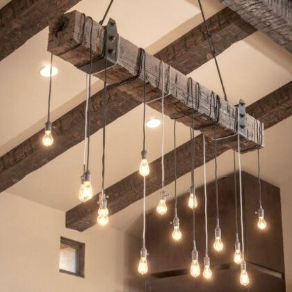 Ξύλινο Vintage Φωτιστικό από Κορμό | WOOD Collection - LAMPADARI
