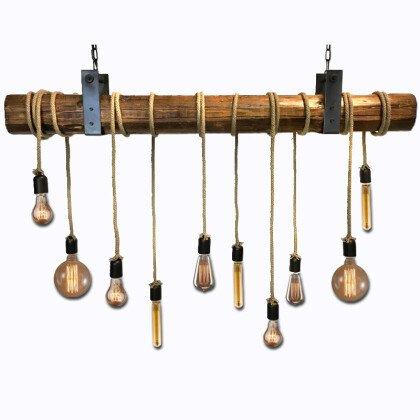 Ξύλινο Vintage Φωτιστικό | Φυσικός Κορμός & Σχοινί
