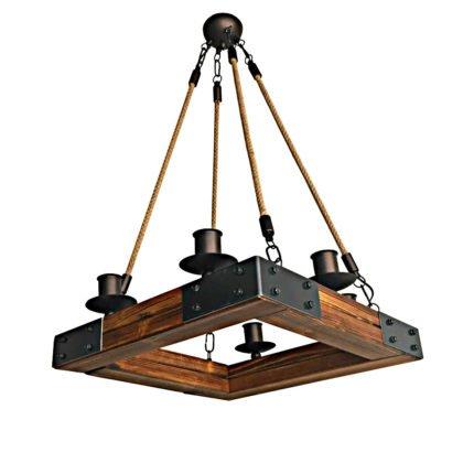 Τετράγωνος Πολυέλαιος από ξύλο και μέταλλο