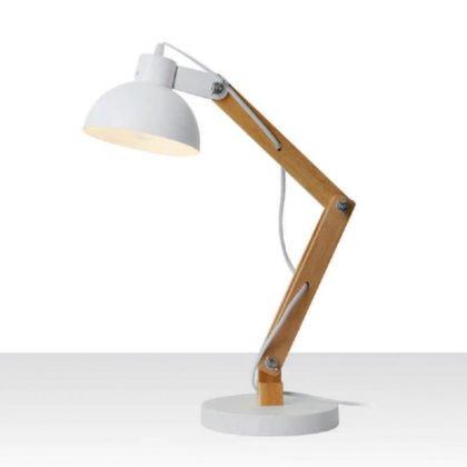 Επιτραπέζια λάμπα γραφείου λευκό - ξύλο