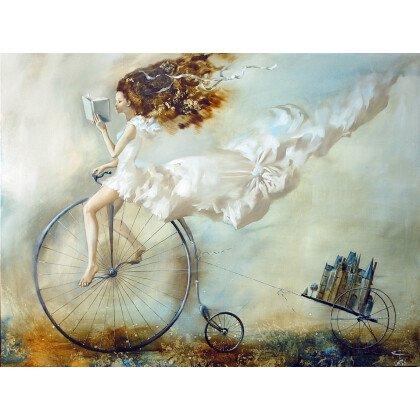 Πίνακας Κορίτσι σε Ποδήλατο & Κάστρο