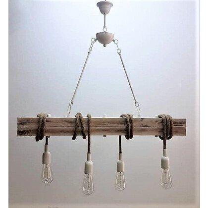Ράγα Ξύλο με Σχοινιά Φωτιστικό Τραπεζαρίας