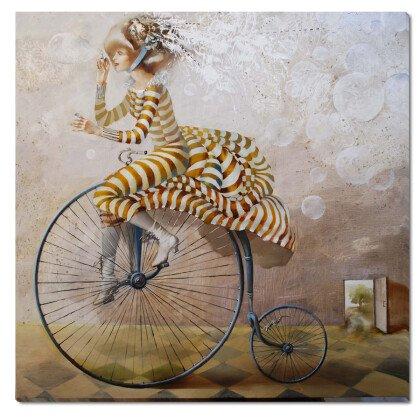 Πίνακας Wonderland Κορίτσι με Ποδήλατο