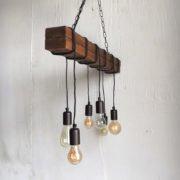 Ξύλινο Vintage Φωτιστικό Τραπεζαρίας