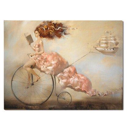 Πίνακας Dream Κορίτσι σε Ποδήλατο & Καράβι