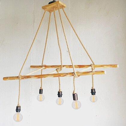 Φωτιστικό Ξύλινη Σκάλα | Κρεμαστό Πολύφωτο με Σχοινιά