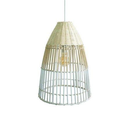 Μονόφωτο Μπαμπού Κλουβί | Ξύλινο Καλάθι Φυσικό Λευκό