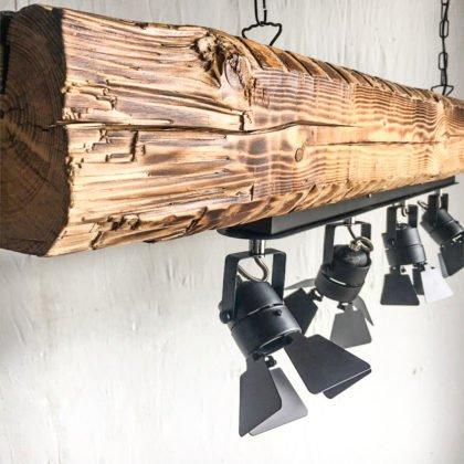 Ξύλινο Φωτιστικό Cinema | Μοντέρνο Βιομηχανικό Πολύφωτο Κορμός | Custom Made