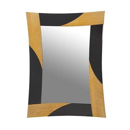 Καθρέπτης Τοίχου Ξύλο & Μαύρο Κρύσταλλο 80x60