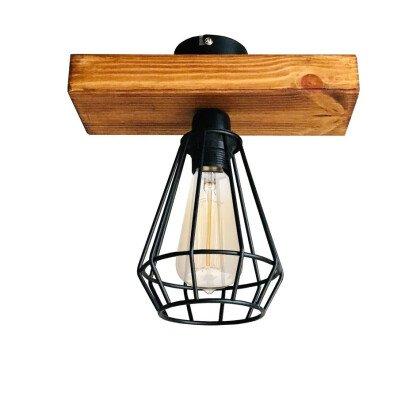 Ξύλινο Φωτιστικό Οροφής Edison | Minimal - Industrial