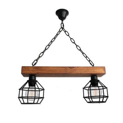 Ξύλινο Κρεμαστό Φωτιστικό Gridy | Minimal - Industrial