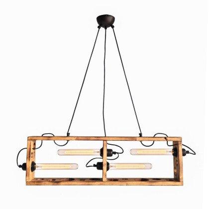 Ξύλινο Κρεμαστό Φωτιστικό Box | Vintage Industrial Φωτισμός