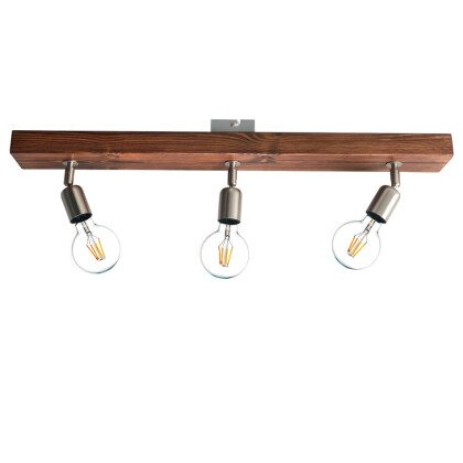 Φωτιστικό Οροφής Ξύλινο Νίκελ | Μοντέρνο Industrial Φωτιστικό