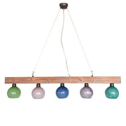 Ξύλινο Φωτιστικό Τραπεζαρίας | Φυσικό Ξύλο & Φυσητό Γυαλί