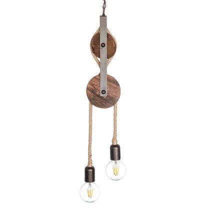 Vintage Φωτιστικό Τροχαλία | Φυσικό Ξύλο & Μέταλλο