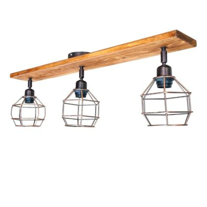 Φωτιστικό Οροφής Ξύλινο Χάλκινο | Minimal Industrial Φωτιστικό