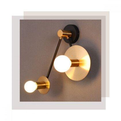 Απλίκα Clock Μαύρο Χρυσό | Επιτοίχιος Φωτισμός