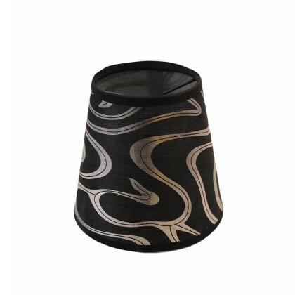 Μαύρο Ασημί Αμπαζούρ Πολυελαίου 14X13   Καπελάκι Φωτιστικού