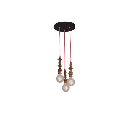 Φωτιστικό οροφής με υφασμάτινο καλώδιο σε διάφορα χρώματα με μασίφ ξύλινα δαχτυλίδια σε 4 τύπους χρωμάτων