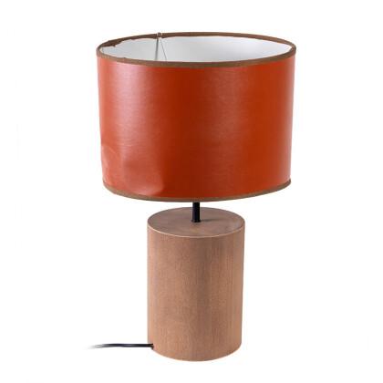 Ξύλινη λάμπα με καπέλο τεχνόδερμα Ε27 1-374-82-006