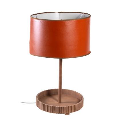 Ξύλινη λάμπα με καπέλο τεχνόδερμα Ε27 1-374-82-008