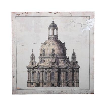 """ΞΥΛΙΝΟ ΚΑΔΡΟ """"Dresden Frauenkirche"""" ΜΠΕΖ-ΚΑΦΕ 40*3.5*40 1-159-92-011"""