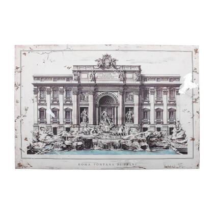 """ΞΥΛΙΝΟ ΚΑΔΡΟ """"Fontana di trevi"""" ΜΠΕΖ-ΚΑΦΕ 120*3.5*80 1-159-92-003"""