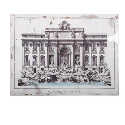 """ΞΥΛΙΝΟ ΚΑΔΡΟ """"Fontana di trevi"""" ΜΠΕΖ-ΚΑΦΕ 80*3.5*60 1-159-92-004"""