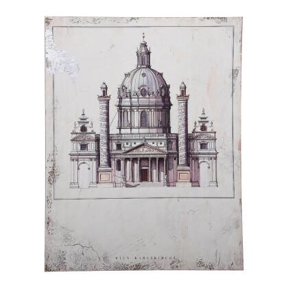 """ΞΥΛΙΝΟ ΚΑΔΡΟ """"Wien Karlskirche"""" ΜΠΕΖ-ΚΑΦΕ 40*2.7*30 1-159-92-007"""