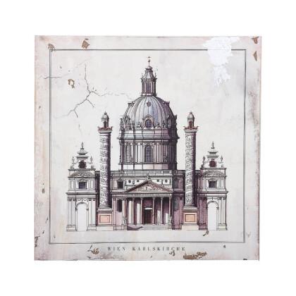 """ΞΥΛΙΝΟ ΚΑΔΡΟ """"Wien Karlskirche"""" ΜΠΕΖ-ΚΑΦΕ 40*3.5*40 1-159-92-012"""